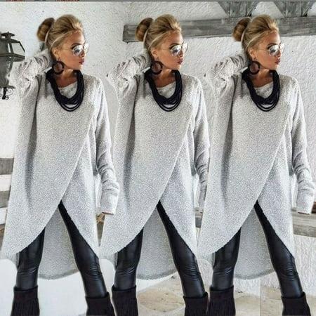 Womens Long Sleeve Blouse Ladies Sweatshirt Dress Jumper Pullover Tops Irregular Hem Asymmetric Dress Asymmetric Mini Dress Top