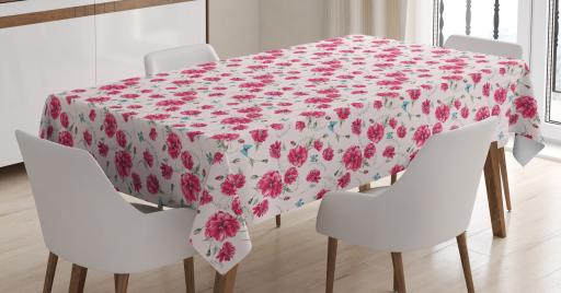 Aqua And Pink Tablecloth, Gentle Poppies Of Summer On Pastel Background  With Butterflies, Rectangular Table Cover For Dining Room Kitchen, 60 X 90  ...