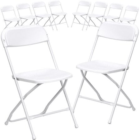 Preschool Plastic Chairs - Flash Furniture (10-Pack) HERCULES Series Premium Plastic Folding Chair, White
