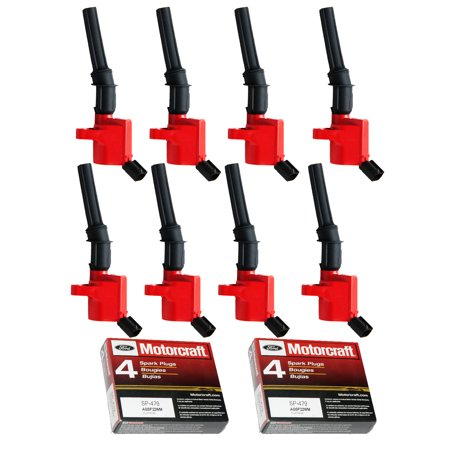 Set of 8 ISA Red Ignition Coils & Motorcraft Spark Plugs SP479 For 1997-2010 Ford F-150 5.4L V8 Compatible with DG508 SP479