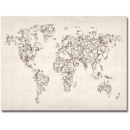 "Trademark Art ""World Map - Swirls"" Canvas Wall Art by Michael Tompsett"