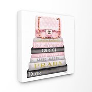 The Stupell Home Decor Collection Watercolor High Fashion Bookstack Padded Pink Bag Stretched Canvas Wall Art, 17 x 1.5 x 17
