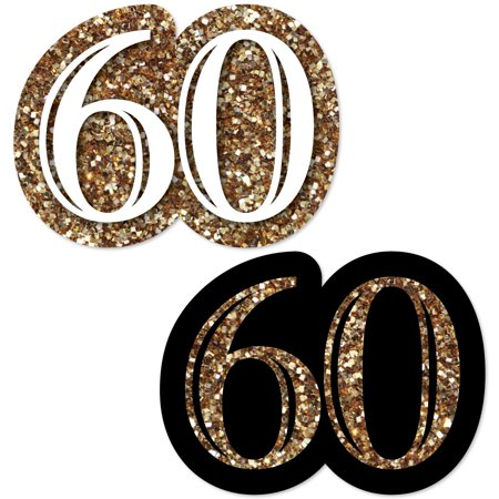Adult 60th Birthday - Gold - DIY Shaped Birthday Party Cut-Outs - 24 Count](60th Birthday Party Packs)