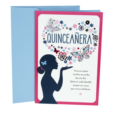 Hallmark Vida Spanish Birthday Greeting Card for Quinceañera (Flower and Butterfly Heart) 2 Hearts Greeting Card