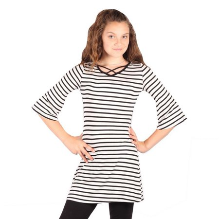 Stripe Cuff Shirt - Lori&Jane Girls White Black Stripe Criss Cross Strap Flared Cuff Top