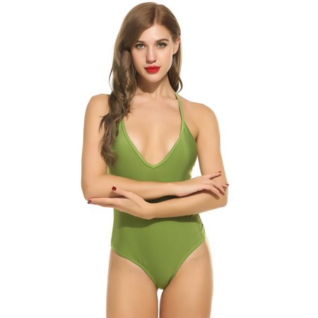 b749d24553 Women Sexy V-Neck Padded Lace Up One Piece Backless Padded Push Up Swimsuit  Swimwear MSARTS - Walmart.com