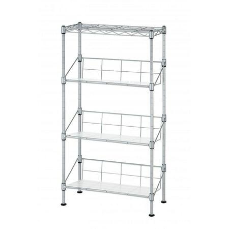 New Silver 4 Tier Media Rack Cd Rack Stand Racks Organizer Storage