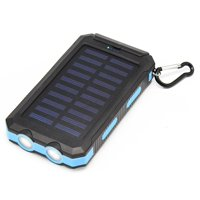 Tagital Solar 12,000mAh Power Bank with Dual USB Solar Panel Charger with 2 LED Light Carabiner Compass Portable for Emergency Outdoor Camping Travel