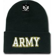 RapDom Army Text Mens Military Long Cuff Beanie Cap [Black]