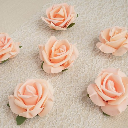"""Efavormart 6 pcs 4"""" Real Touch 3D Artificial DIY Foam Rose Flower Head For Wall Backdrop Event Decoration"""