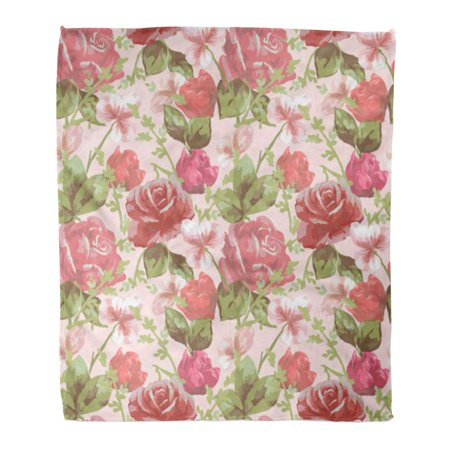 Classic Slipcovers Pillow - KDAGR Throw Blanket Warm Cozy Print Flannel Pink Batik Delicate Floral Pattern with Roses Red Beautiful Blossom Classic Comfortable Soft for Bed Sofa and Couch 58x80 Inches