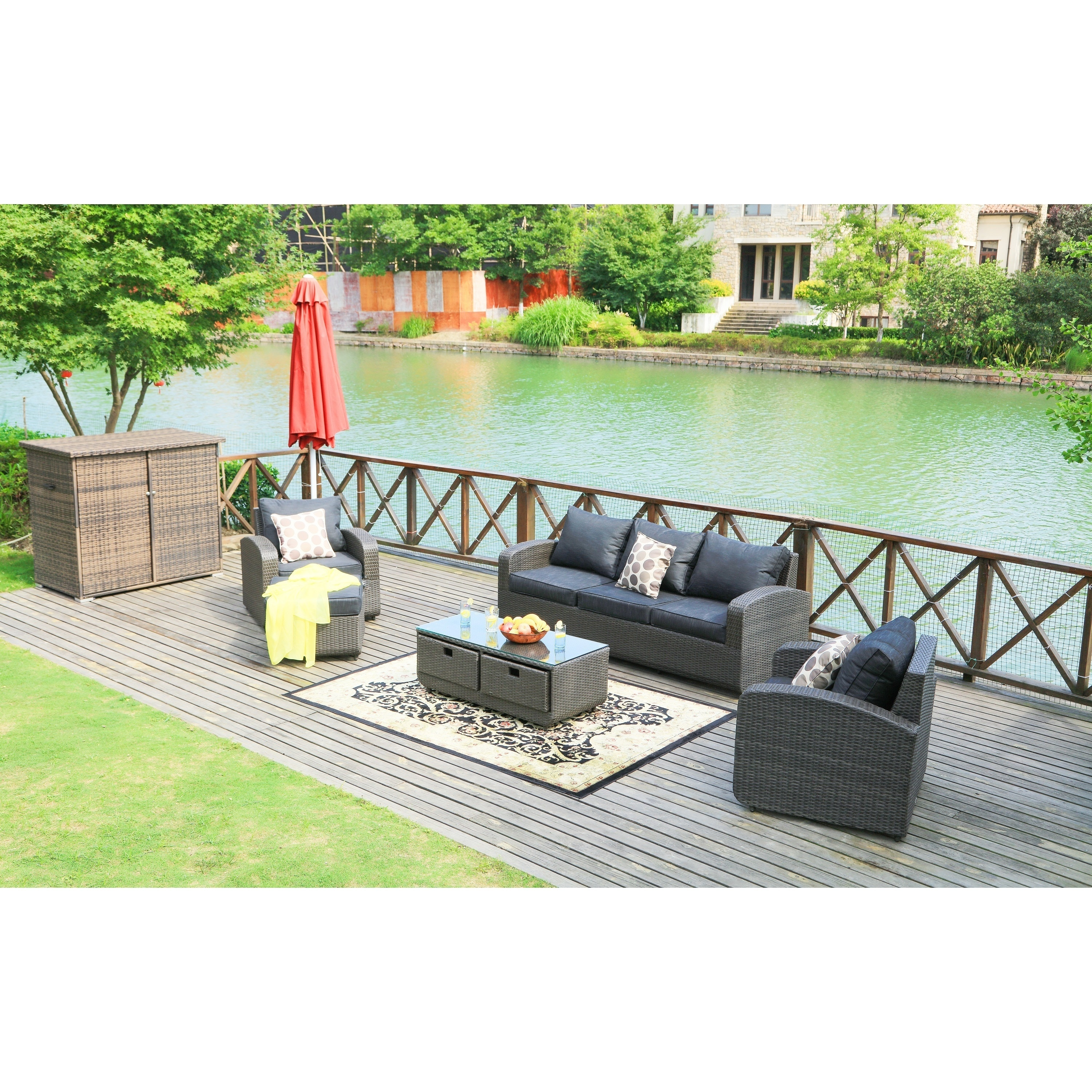 Direct wicker strathmere 5 piece wicker patio furniture set with storage box by