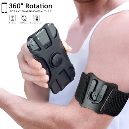 Detachable  Phone Armband for iPhone Xs Max/XS/XR/X/8 plus/8/7/7 Plus/6, Samsung Galaxy S10 Plus/S10/S10e/Note 9/Note 8, Detachable Workout Sports Arm Band, Phone Holder for Running Hiking Biking ()
