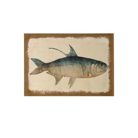 Fish - Burlap Wrapped Printed And Hand Painted - Stretched Canvas Wall