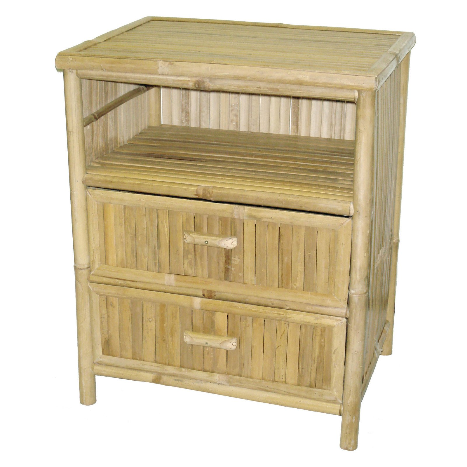 Bamboo54 Patio End Table with 2 Drawers