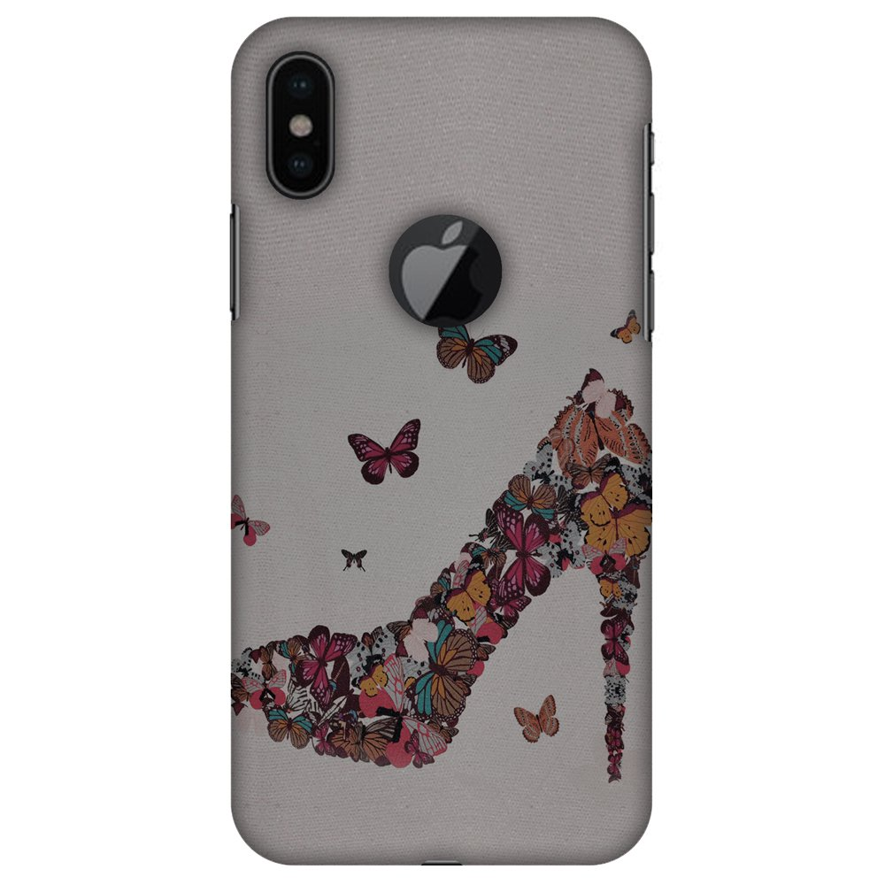 iPhone X Case - Butterfly High Heels, Hard Plastic Back Cover. Slim Profile Cute Printed Designer Snap on Case with Screen Cleaning Kit