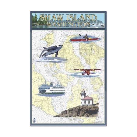 Shaw Island, Washington - Nautical Chart - Lantern Press Poster (8x12 Acrylic Wall Art Gallery Quality)