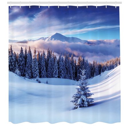 Winter Shower Curtain Surreal Scenery With High Mountain Peaks And Snowy Coniferous Pine Trees