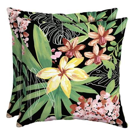 Better Homes & Gardens Black Tropical 16 x 16 in. Outdoor Toss Pillow w EnviroGuard, Set of 2 ()