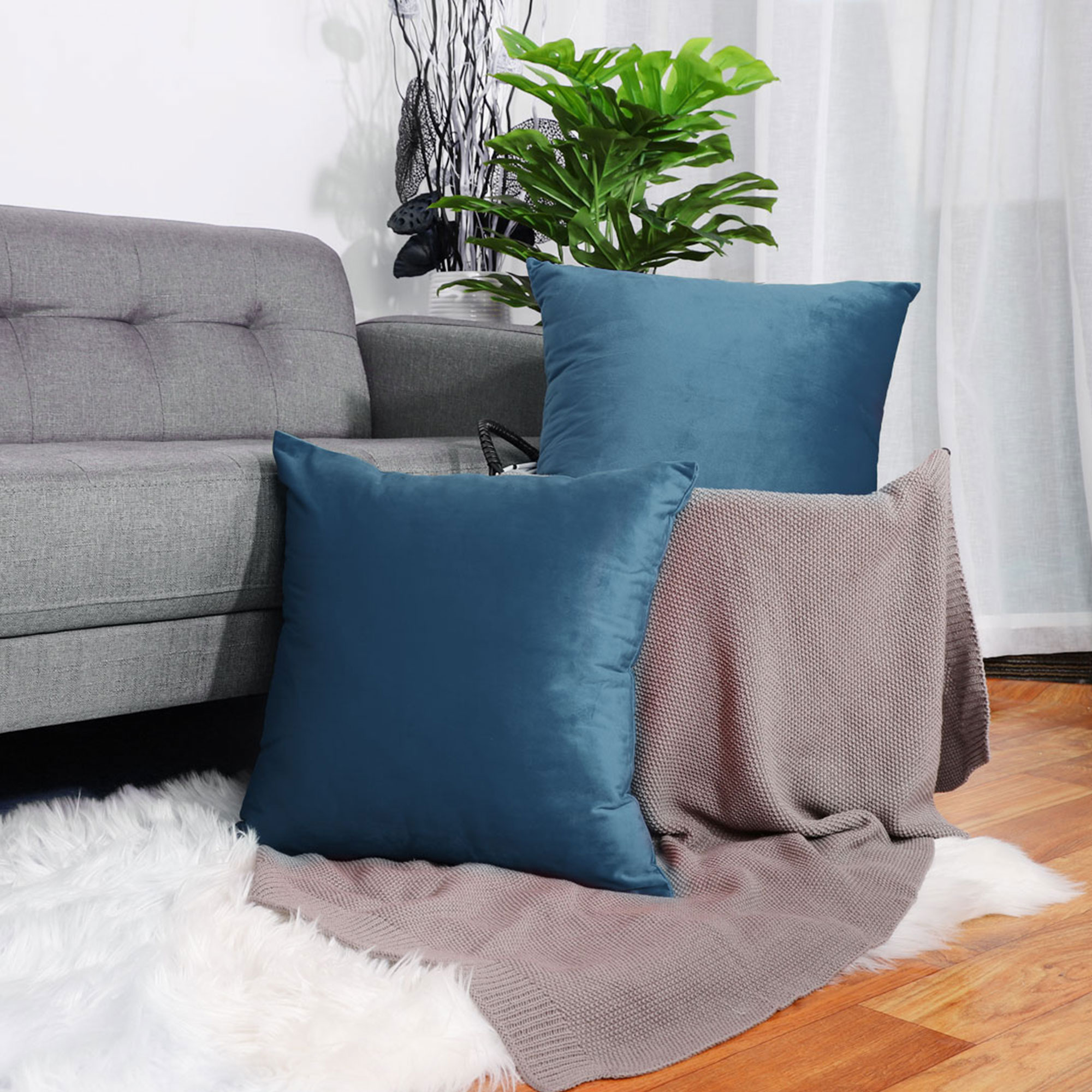 Pack Of 2 Square Euro Throw Pillow Cover Decorative