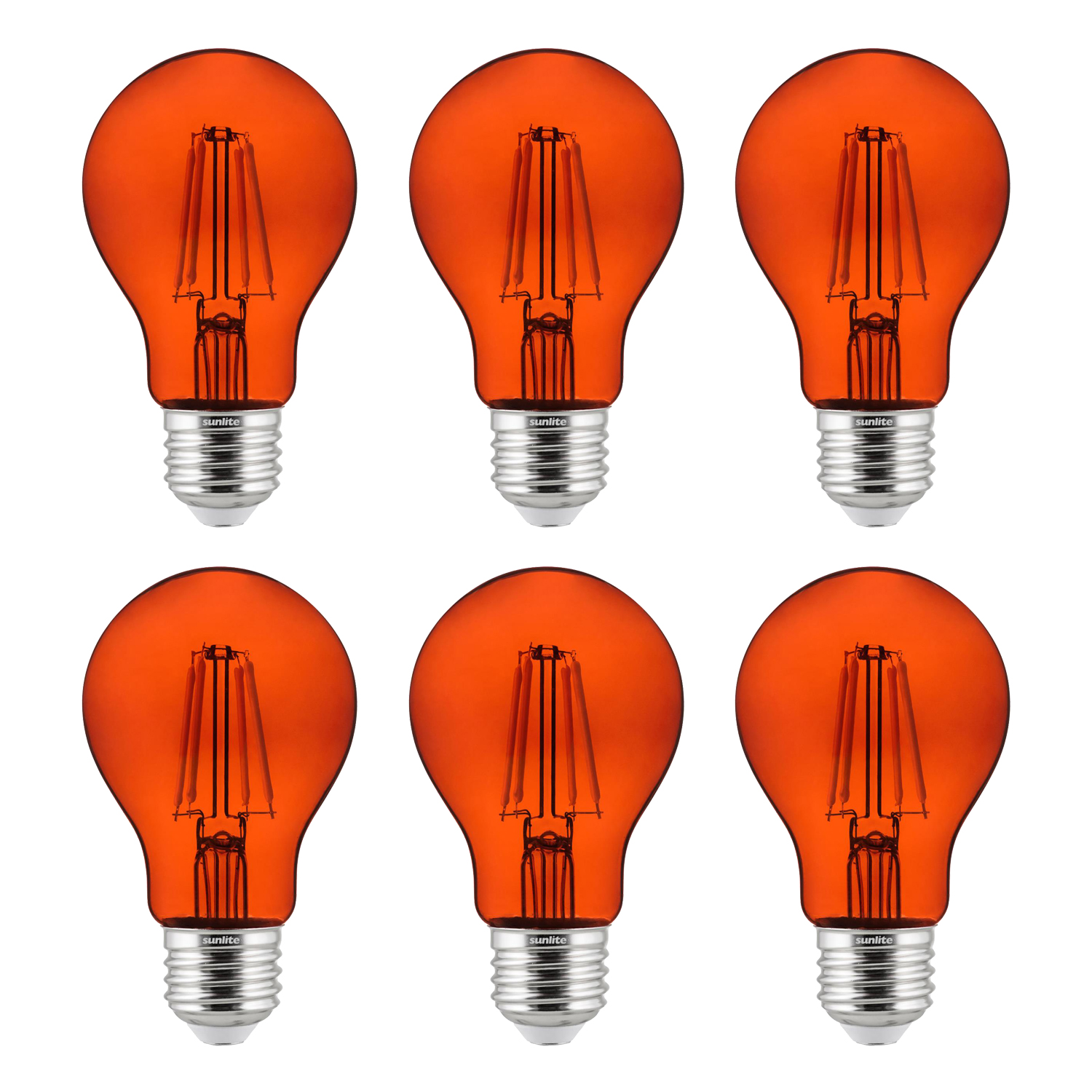 6-Pack Sunlite LED Transparent Orange A19 Filament Bulbs, 4.5 Watts, Dimmable, UL Listed