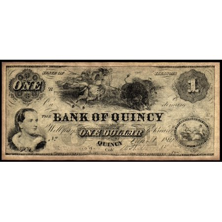 Union Banknote 1861 Nstate Of Illinois Banknote For One Dollar Issued By The Bank Of Quincy 1861 Rolled Canvas Art     24 X 36
