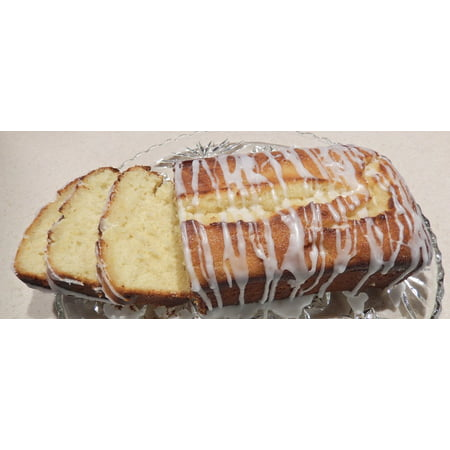Canvas Print Glaze Lemon Icing Sliced Loaf Cake Food Sweet Stretched Canvas 10 x