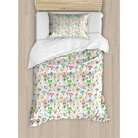 Baby Duvet Cover Set, Spring Funny Animal Figures Trippy Stylized Cheerful Buddies Flowers Butterflies Kids, Decorative Bedding Set with Pillow Shams, Multicolor, by (Butterfly Buddy)