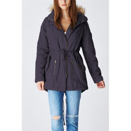 glamsia lcp011 lady cotton parka jacket with fur lined hood, navy - extra large