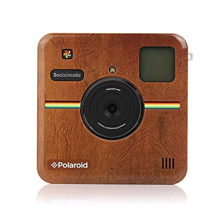 polaroid custom designed front plate for polaroid socialmatic - matte brown leather look Custom Leather Designs