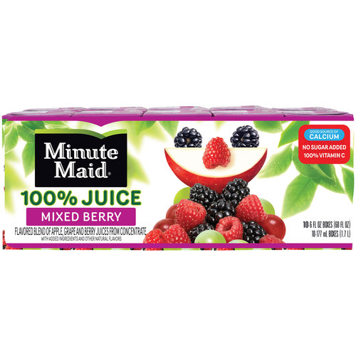 Minute Maid Mixed Berry 100% Juice, 6 fl oz, 10 count