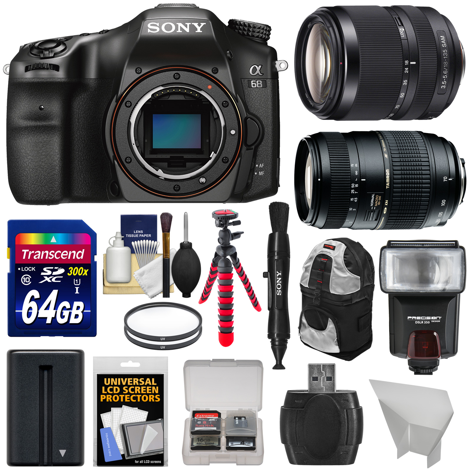 Sony Alpha A68 Digital SLR Camera Body with 18-135mm ED & 70-300mm Lenses + 64GB Card + Battery + Backpack +... by Sony