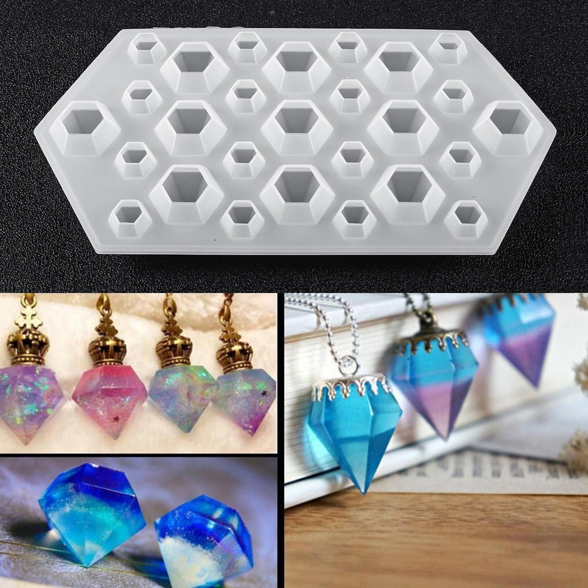DIY Diamond Resin Mould Jewelry Pendant Resin Casting Craft Making Molds Kit