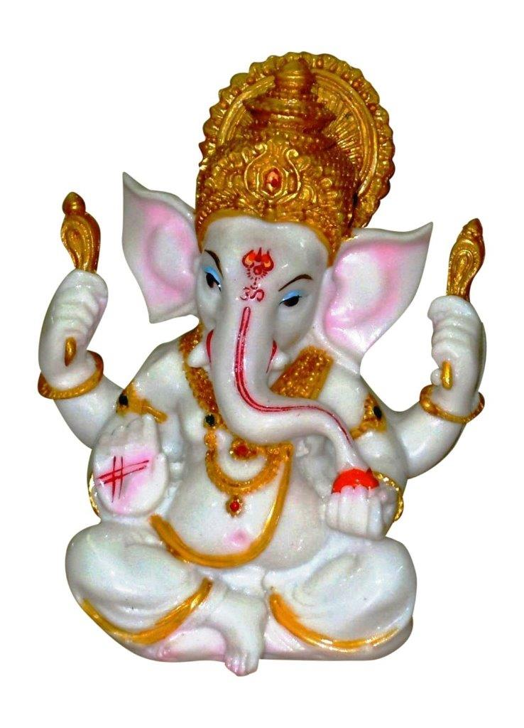 The Blessing, A White & Gold statue of Lord Ganesh Ganpati Elephant Hindu God made from Marble powder