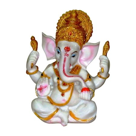 Elegantoss White & Gold Statue of Lord Ganesha the Elephant Hindu God of Success Made from Marble Powder in India for Home Décor,