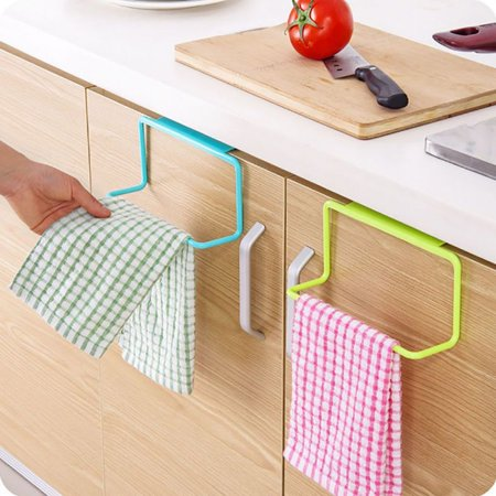 Kitchen Bathroom Towel Holder Rack Door Cabinet Back Hanging Organizer