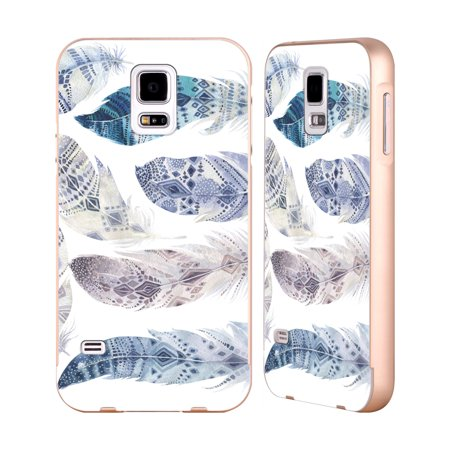 OFFICIAL KRISTINA KVILIS FEATHERS GOLD ALUMINIUM BUMPER SLIDER CASE FOR SAMSUNG PHONES