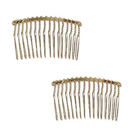 22K Gold Plated Metal Fancy Hair Combs - Fun Craft Beading Project 2 1/2 Inches (2) Craft Hair Combs