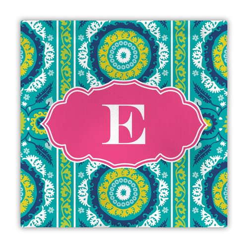 Whitney English Suzani Single Initial Fabric Coaster (Set of 4)