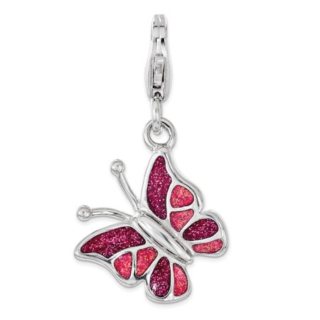 - 925 Sterling Silver Pink White Enameled Butterfly Lobster Clasp Pendant Charm Necklace Animal For Women