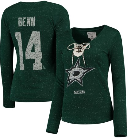 Jamie Benn Dallas Stars Reebok Women's Henley Lace Up Name & Number Long Sleeve T-Shirt - (Jamie Lace)