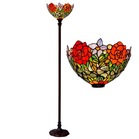 Bieye L10398 15-inches Rose Tiffany Style Stained Glass Torchiere Floor Lamp (Red Rose) Dragonfly Tiffany Torchiere Lamp