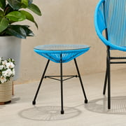 Hayk Outdoor Modern Faux Rattan Side Table with Tempered Glass Top, Blue and Black