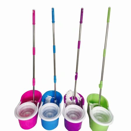 Spin Mop Home Cleaning System by BulbHead, Floor Mop with Bucket Hardwood Floor Cleaner Green