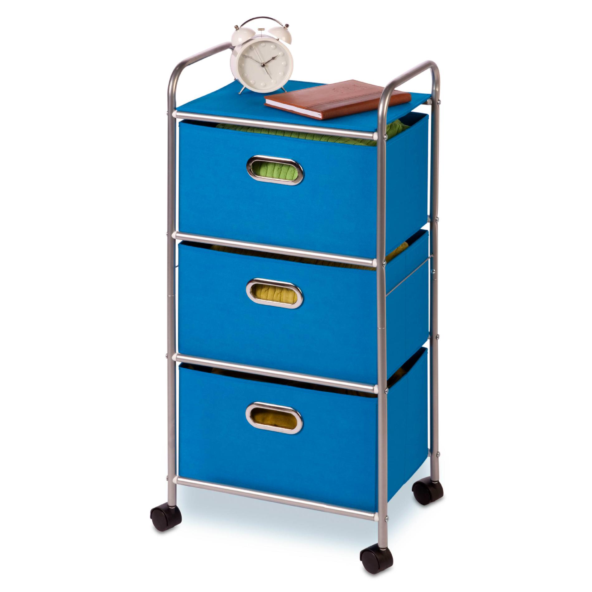 Honey Can Do Plastic Rolling Cart with 3 Fabric Drawers, Multicolor