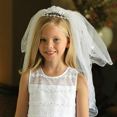 Angels Garment Girls White Double Layer Communion Flower Girl Headpiece - First Communion Veils And Headpieces