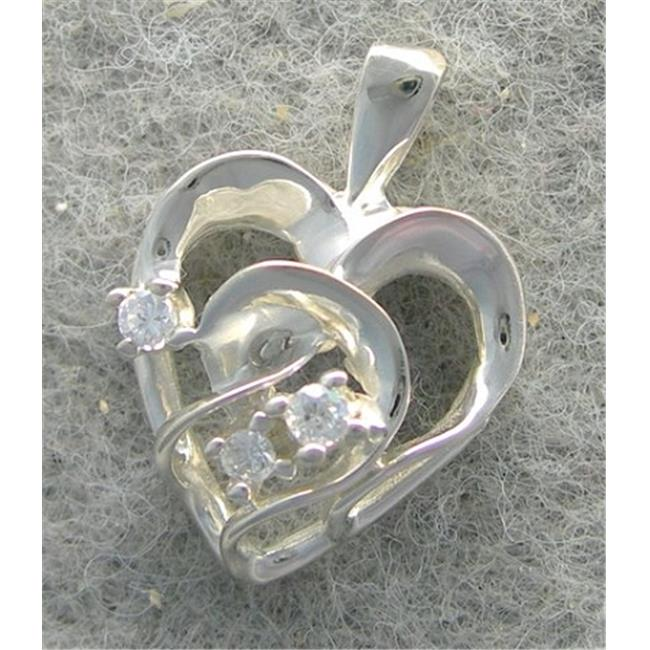 Marinas Fine Jewelry 14k White Gold Genuine Diamond Heart Shaped Pendant