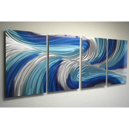 Echo 3 Blues v2 - Abstract Metal Wall Art Contemporary Modern Décor by Miles
