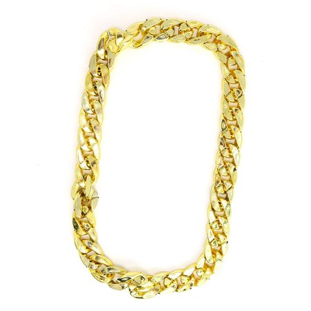 Hip Hop Halloween Sf (Skeleteen Rapper Gold Chain Accessory - 90s Hip Hop Fake Gold Costume Necklace - 1)