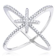 Ladies 925 Sterling Silver 'X' Ring with Center Cross & Cubic Zirconia Stones (5)